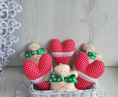 Bombki zawieszki świąteczne serca ciastka GOTOWE