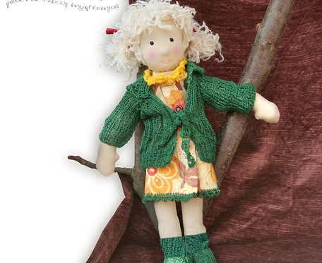 Lila - dziewczynka-blondynka - lalka szmaciana