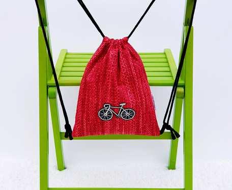 Plecak – Worek dla dzieci czerwony wzór i rowery