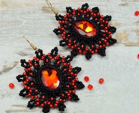 Eleganckie, czarno czerwone kolczyki z kryształami