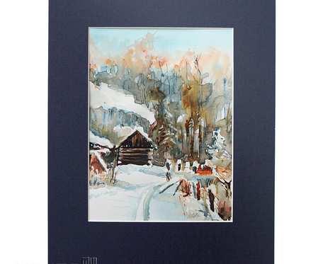 Zimowy krajobraz - akwarela