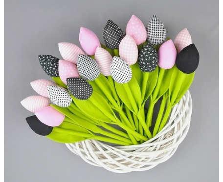 Tulipany bawełniane, szyte czarno - różowe