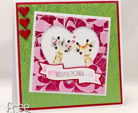 Egzotyczna kartka ślubna zakochane żyrafy KS1930
