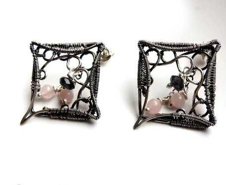 Vintage Kolczyki srebrne z jadeitem i różowym kwarcem