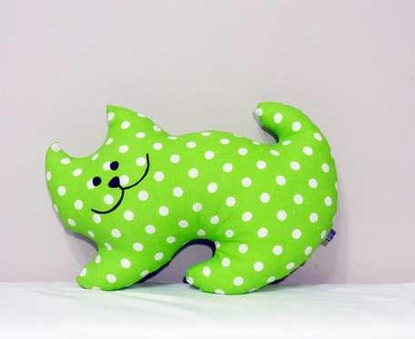 Maskotka Kotek  -zielony w białe groszki