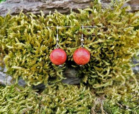 Kolczyki kamyki (czerwone) #4