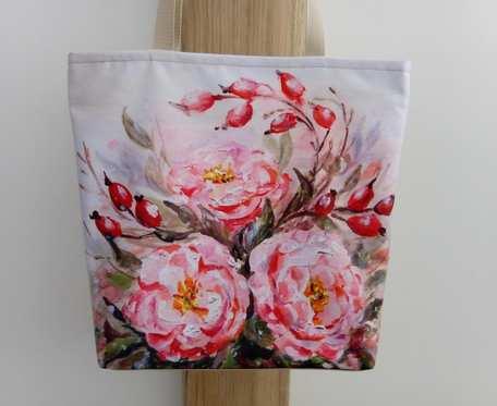 Eko torba zakupowa, shopperka, kwiaty