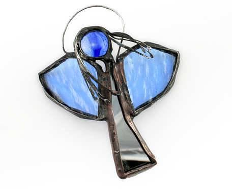 Aniołek lusterkowy z błękitem