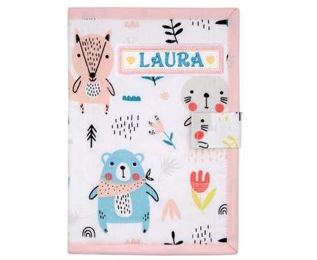 Okładka imienna na książeczkę zdrowia dziecka Misie turkusowo - różowe
