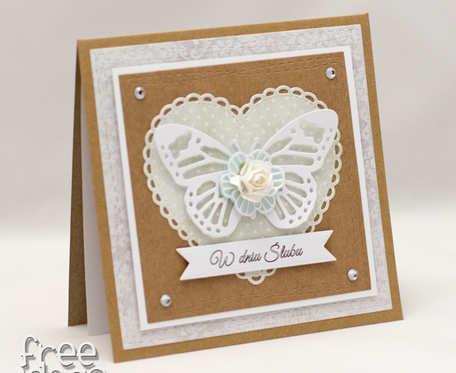 Eko baza - kartka ślubna z motylem KS1918