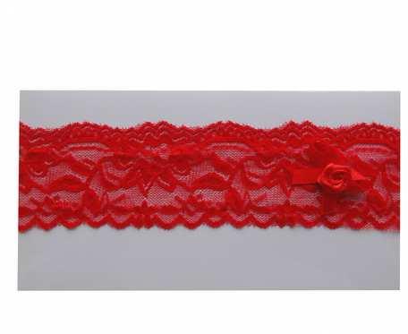Czerwona koronkowa opaska dla dziewczynki