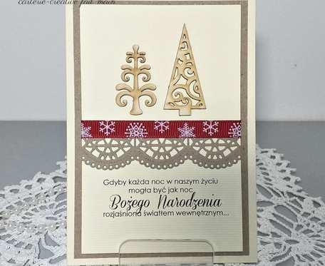 Kartka świąteczna na Boże Narodzenie i Nowy Rok - choinki