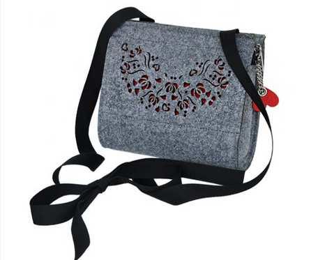 Filcowa torebka dla dziewczynki - szaro czerwona