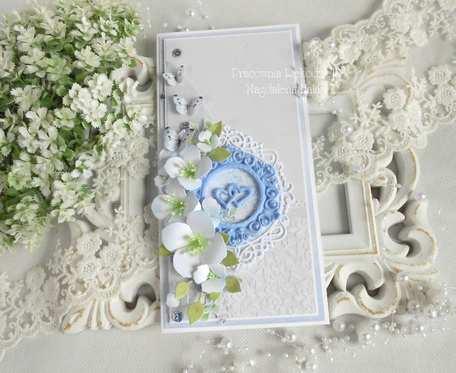Ślubna kartka DL w pudełku 100