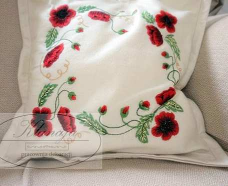 Ozdobna poszewka na poduszkę z haftem 43 cm x 43 cm