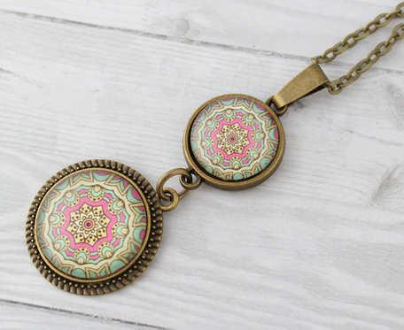 Mandala - szklany medalion etno