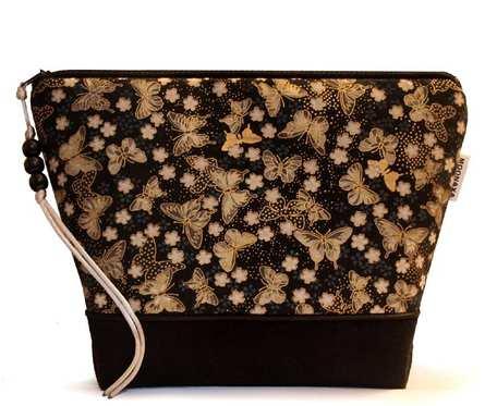 kosmetyczka - motylki złocone - czarna L