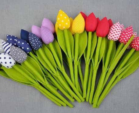 Tulipany bawełniane, szyte kolorowe