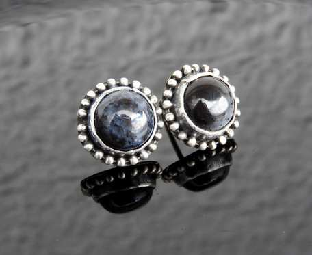 Kolczyki srebrne z agatem dendrytowym