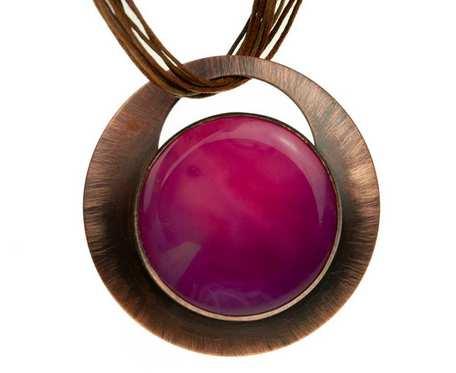 Naszyjnik z różowym kamieniem agat c837