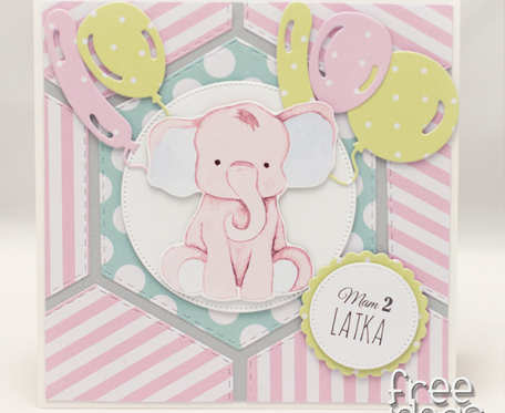 Karteczka ze słonikiem na 2 latka KU1836