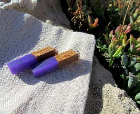 Drewniane kolczyki eko lizaki fioletowe