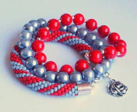 Bransoletki Red& Grey