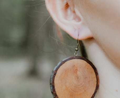 Drewniane eko kolczyki Dąb koła duże