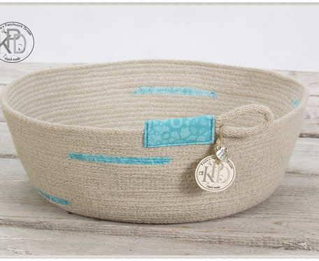 Koszyczek turkusowy z bawełnianego sznurka