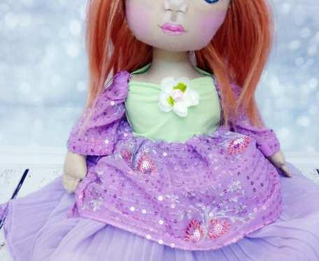 Lalka handmade 45 cm z wiankiem