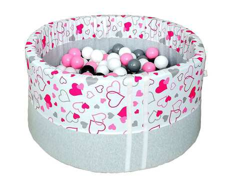 Suchy basen BabyBall z piłeczkami (200 szt) - różowe serduszka