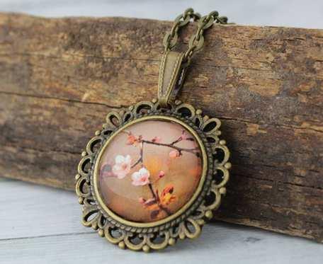 Szklany medalion etno - Autumn