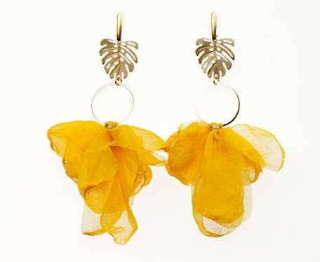 Kolczyki z żółtymi kwiatami c861