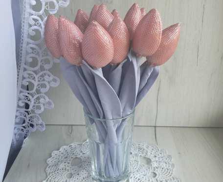 Tulipany glamour błyszczące pudrowy róż Dzień Babci