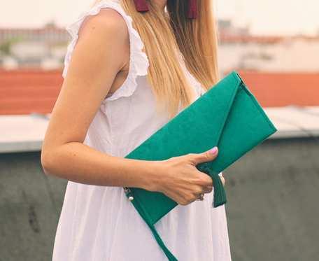 Torebka kopertówka szmaragdowa zielona sutasz soutache z chwostem BOHO butelkowa