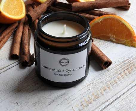 Naturalna świeca sojowa POMARAŃCZA Z CYNAMONEM