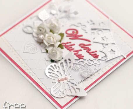 Kartka ślubna Perłowa Biel z różem 18004