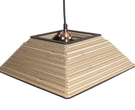 Lampa wisząca Tenquame z tektury falistej