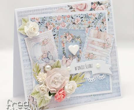 Przestrzenna kartka ślubna z kwiatami KS1912