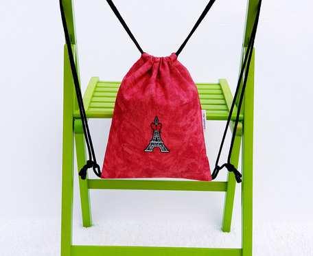 Plecak – Worek czerwony z wieżą Eiffla