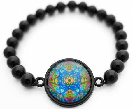 Bransoletka z kamienia czarnego onyksu czakra amulet etno MANDALA  boho orientalna Bransoletka z intencją
