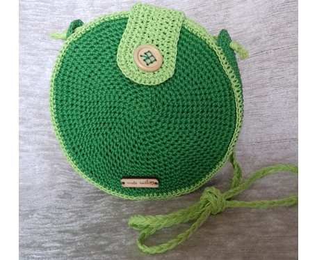 Okrągła torebka na ramię w dwóch odcieniach zieleni