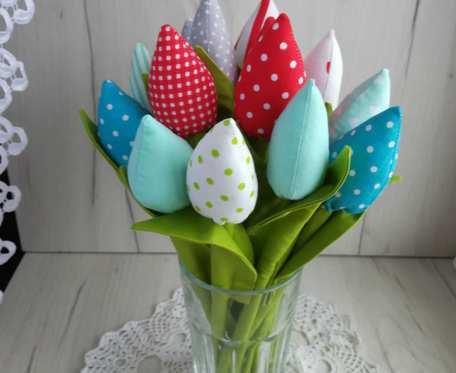 Tulipany materiałowe, z bawełny, Dzień Matki, Wielkanoc, dekoracja wnętrza