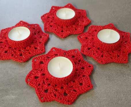 Migotliwy komplet świeczników czerwonych
