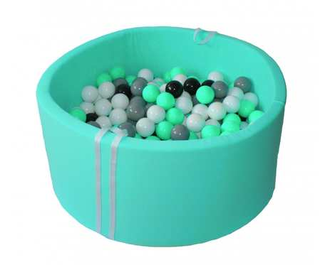 Suchy basen BabyBall z piłeczkami (250 szt) - grube dno 4 cm - Miętowy - prezent na Roczek