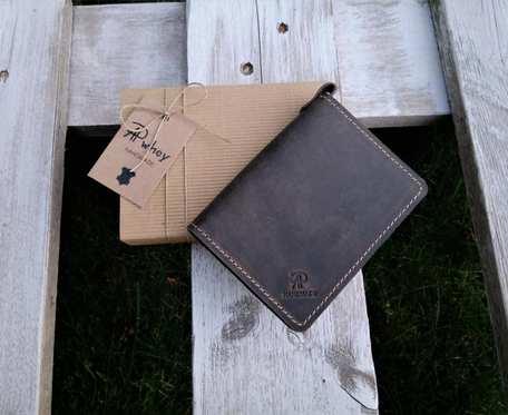 Mini portfel męski, skórzane etui na karty, ciemny brąz