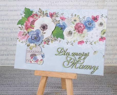 Błękitna kartka z kwiatami dla mamy