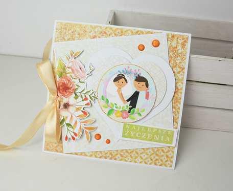 Pomarańczowo-kremowa kartka ślubna