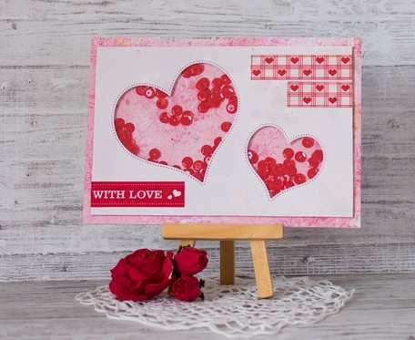 Kartka walentynkowa, miłosna, z ruchomymi cekinami