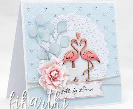 Romantyczna kartka ślubna z flamingami KS2030